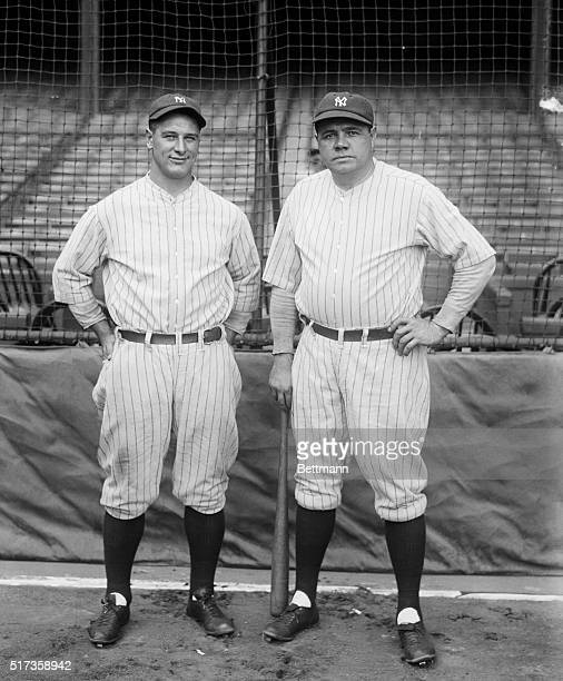 9/15/1927New York NY Photo shows Babe Ruth and Lou Gehrig the home run twins whose heavy hitting is expected to bring the 1927 Worlds Championship...