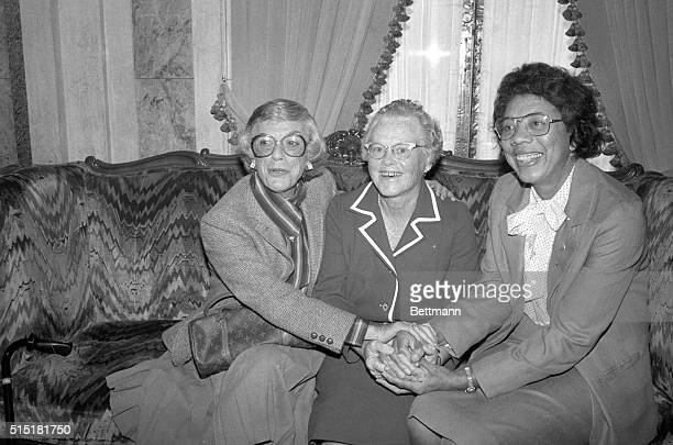 9/16/1980New York NY Eleanor Holm Whalen Patty Berg and Althea Gibson get together at a reception prior to the awards dinner celebrating their...