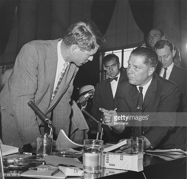 9/17/1958Washington DC Teamster President James R Hoffa confers with Counsel Robert Kennedy of the Senate Labor Racket Committee Earlier Hoffa...