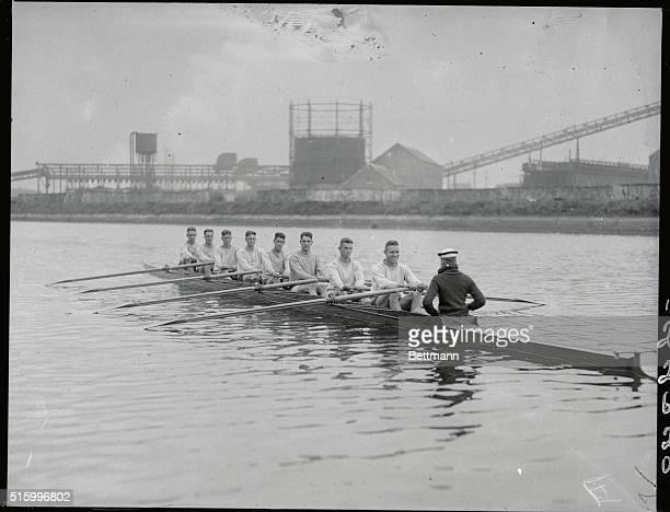Antwerp, Belgium: The 1920 Olympics. The U.S. Navy crew in the water.