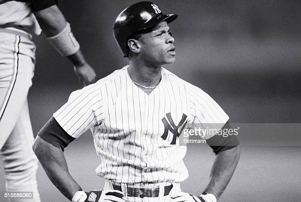 9/19/1988New York NYYankee's left fielder Rickey Henderson shows displeasure after being called out at 1st on a tag by Baltimor Orioles Eddie Murray...