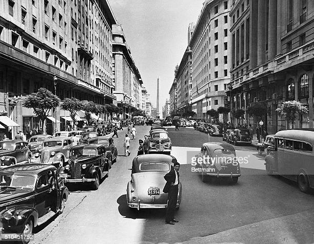 9/1951Buenos Aires ArgentinaThe obelisk at the head of Diagonal Norte is a familiar landmark It presents a striking view to persons traveling towards...
