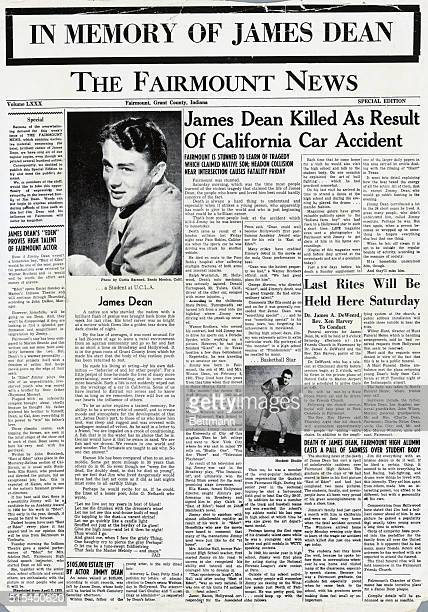 9/1955Fairmont IN News special edition front page In Memory of James Dean The newspaper features a photograph of the actor and several articles about...