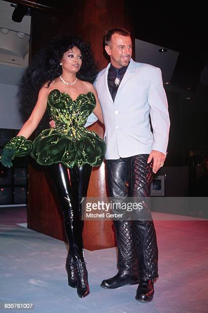 9/1993New York NY Diana Ross and designer Thierry Mugler at Saks Fifth Avenue for the launch of his perfume 'Angel'