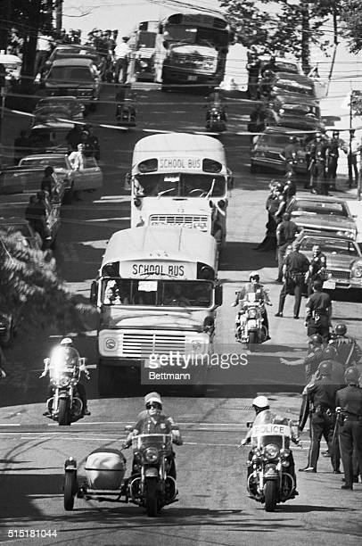 Boston,MA- Black students are bused back to the Roxbury section from South Boston under a heavy police guard September 16 on the third day of...