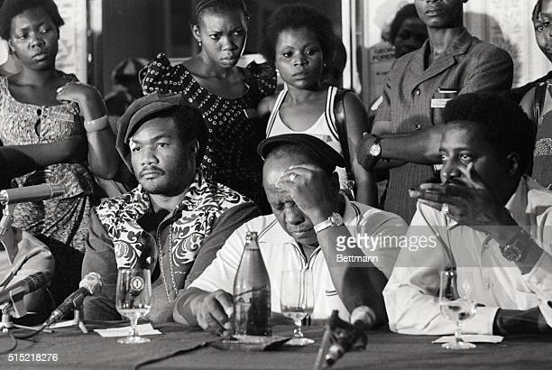 9/20/1974Kinshasa Zaire The strain shows on Dick Sadler world heavyweight champion George Foreman's trainer during a news conference at which Foreman...