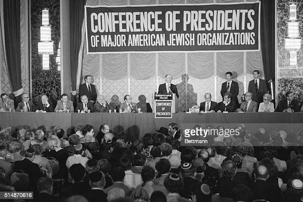 9/20/1978New York NY Israeli Prime Minister Menachem Begin addresses conference of American Jewish leaders at Americana Hotel here 9/20 telling them...