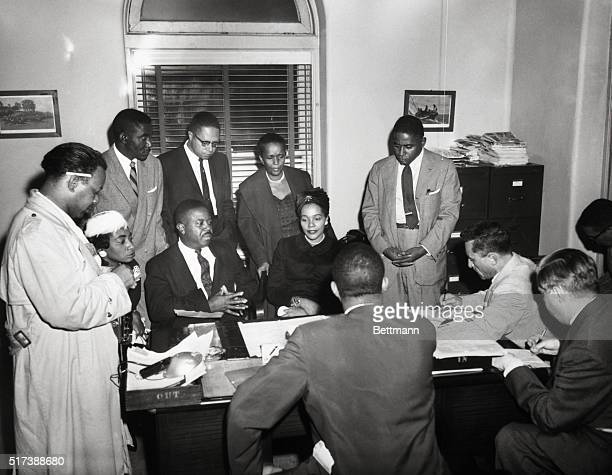 9/21/1958New York NY Mrs Martin Luther King and Rev Abernathy talking to reporters after visiting patient in hospital