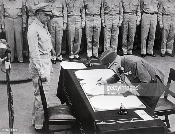 """Tokyo, Japan: Surrender of Japan, World War II, aboard the battleship """"Missouri"""" in Tokyo Bay. Japan represented by Foreign Minister Shigemitsu and..."""