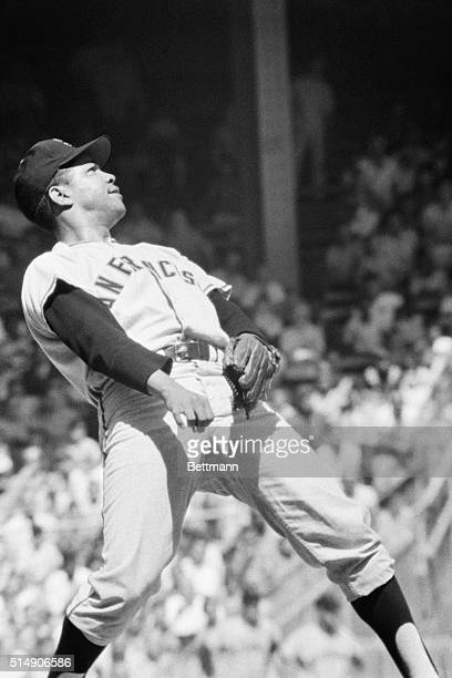 Philadelphia, PA: San Francisco pitcher Juan Marichal leans back on the mound to watch a home run hit by Philadelphia Phillies' Bobby Wine, in the...