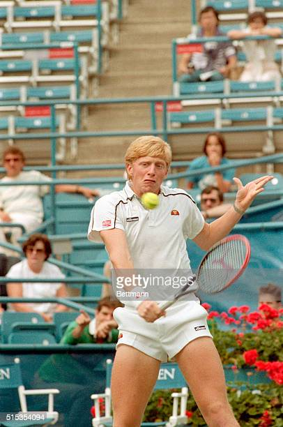 Flushing Meadows, NY- Third-seeded Boris Becker of West Germany pounds out hard-fought 4-set victory over American Gary Donnelly, 9/2, to advance to...