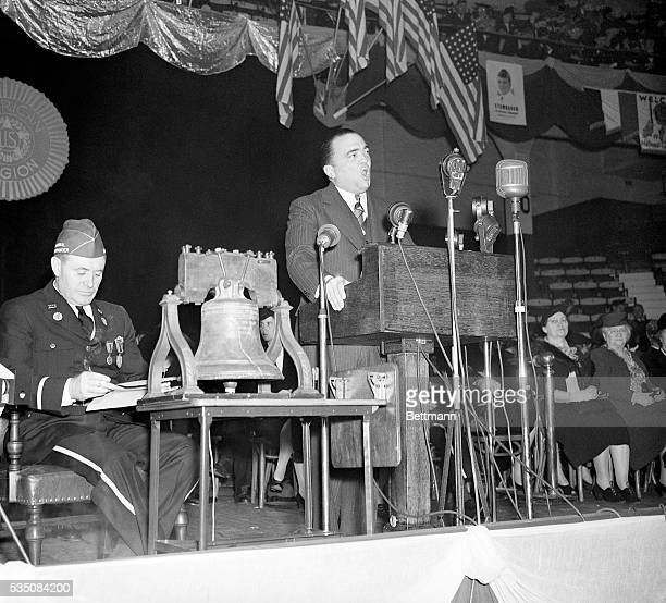 J Edgar Hoover head of the Federal Bureau of Investigation addresses the opening session of the American Legion National Convention in Boston Arena...