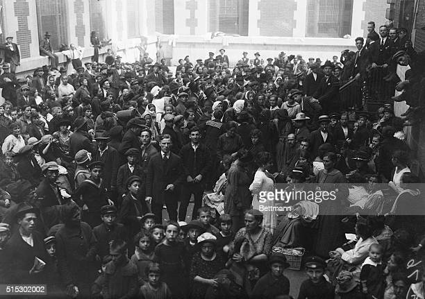 9/24/1920New York NY Crowded to almost three times its capacity the immigration station at Ellis Island has been closed temporarily until the...