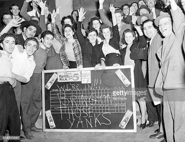 New York, NY: Flushed with triumph and filled with confidence in their idols, the Brooklyn Dodgers, after learning from a scoreboard on a candy store...