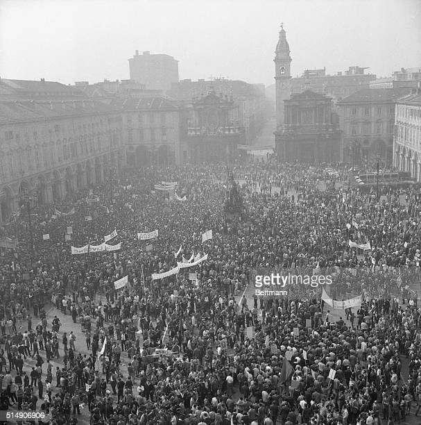 9/25/1969Turin Italy Thousands of striking metal and rubber workers jam the Piazza San Carlo in Turin as 50000 workers join in a threecity...