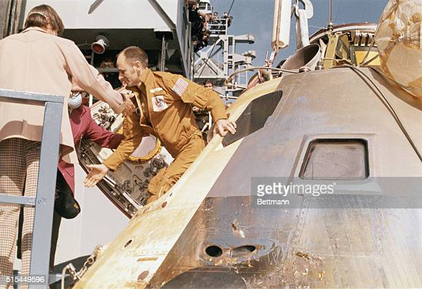 9/25/1973Pacific Ocean Skylab astronaut Alan L Bean leaves the spacecraft after it was brought aboard the recovery ship USS New Orleans A twostage...