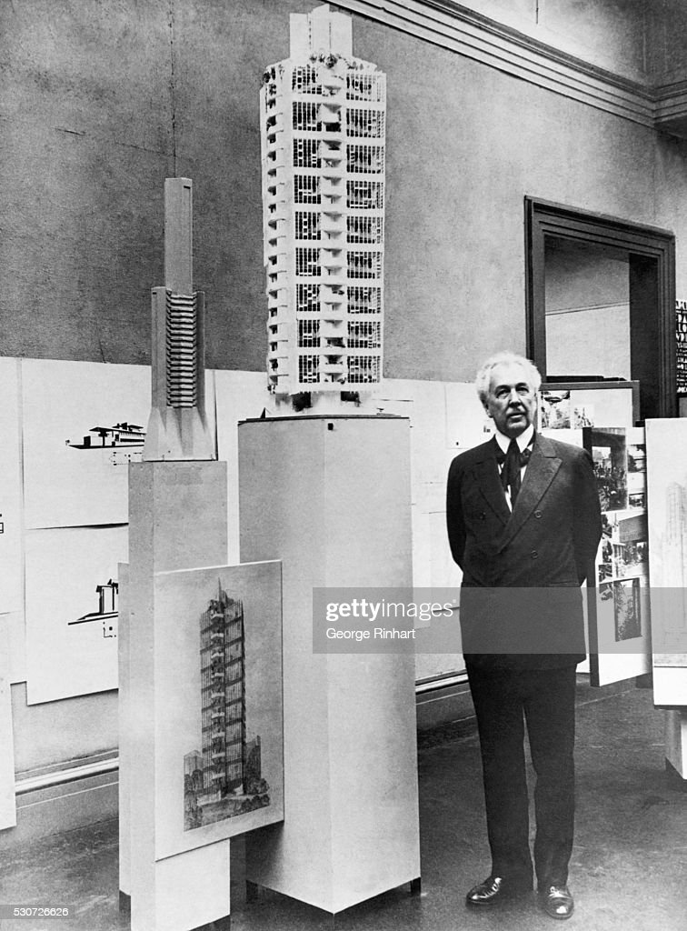 Frank Lloyd Wright Standing Beside Architectural Model Pictures ...