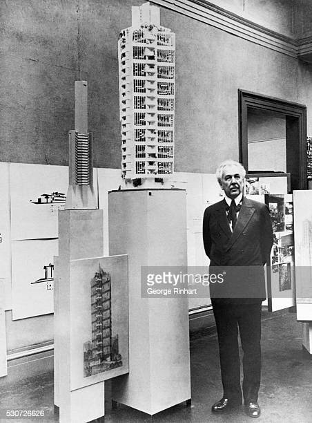 9/26/1930New York NY People Who Live in Glass Houses Frank Lloyd Wright famous architect with the model of his Saint Marks Toweran eighteen story...
