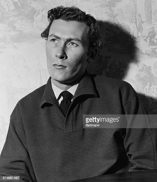 London, England: John Osborne, one of Britain's angry young men is shown in his London home seemingly contemplating his actions after atacking the...