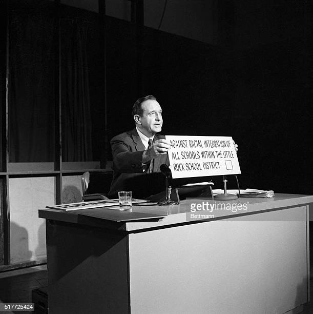 9/26/1958Little Rock AR Governor Faubus during a television broadcast appeals to voters of the little rock school dist to vot for for segregation of...