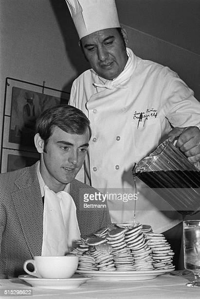 9/26/1972Dallas TX Pancakes are the order of the day for California pitcher Nolan Ryan here Sept 26 as he faces a breakfast of 302 silver dollar...