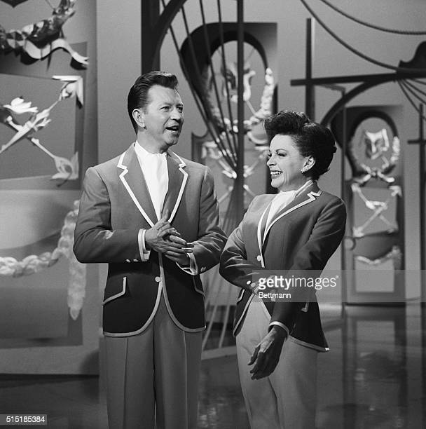 9/26/63Hollywood CA Donald O'Connor and Judy Garland rehearse for premiere production of The Judy Garland Show which will mark their first TV...