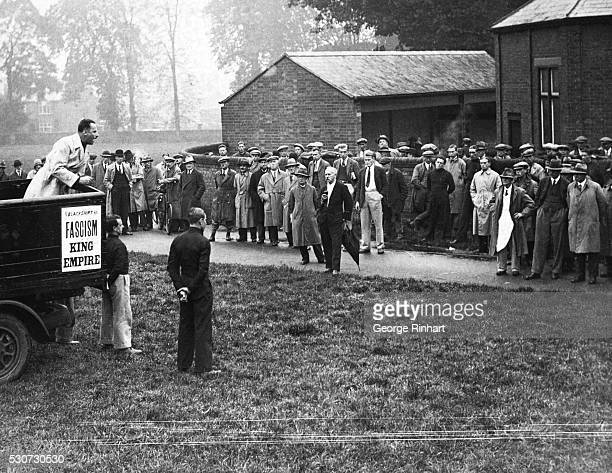9/27/1933Buckinghamshire England Sir Oswald Mosley the leader of the British fascists addressed a gathering of farmers at Aylesbury Buckinghamshire...