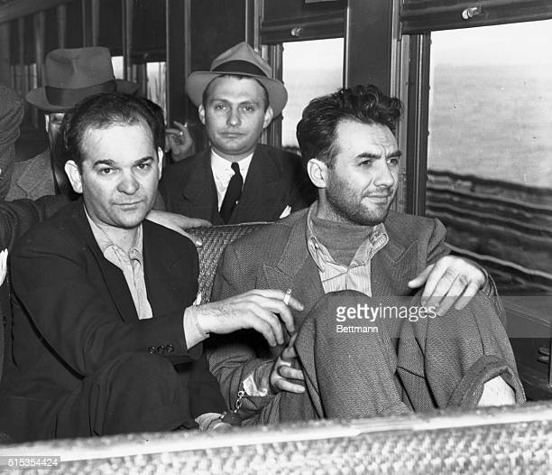 9/27/1940Ossining NY Martin Goldstein leader of the Brooklyn murder syndicate and Harry Strauss a coterrorist are shown on the train as they neared...