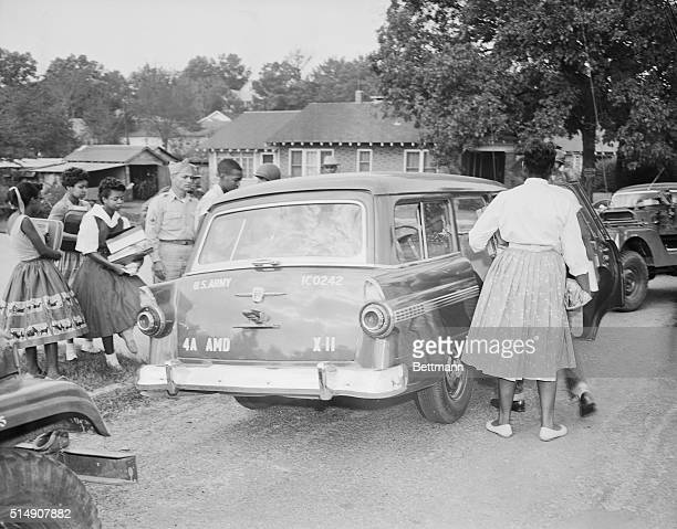 9/27/1957Little Rock AK The nine Negro students who were the storm center of the integration crisis at the Little Rock Central High School are shown...