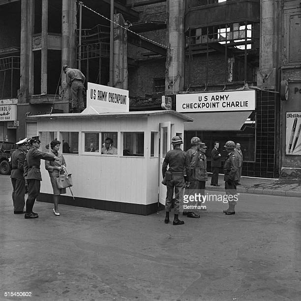 9/27/1961West Berlin Germany United States troops at the Frederick Street checkpoint in West Berlin stand guard at a weatherproof wooden building...