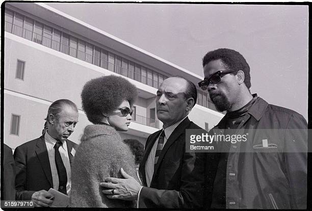9/27/1968Oakland CaliforniaBlack Panther leader Eldridge Cleaver and his wife Kathleen and attorney Charles Garry stand outside the Alameda County...