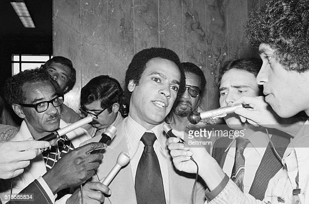 A jubilant Huey Newton talks to newsmen outside Alameda County courtroom after the State abandoned a 5year effort to send the Black Panther leader to...