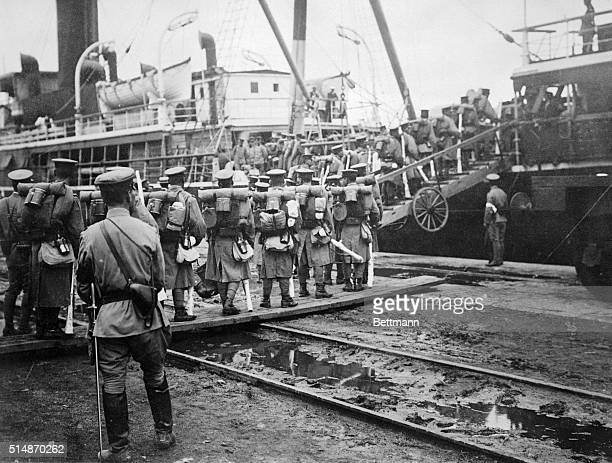"Siberia, Russia: One of the first pictures of Japanese troops evacuating Siberia and returning to Japan. They embarked on the transport ""Kumamoto..."