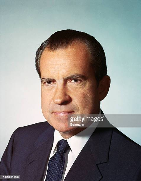 President Richard Nixon is shown in a closeup shot