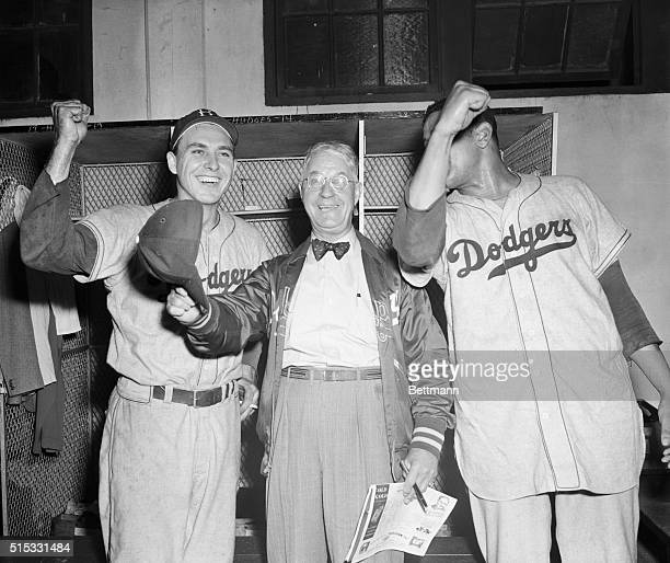 9/29/1949Boston MA It was thumbs up for the Dodgers in their locker room after they defeated the Braves 92 in the first game and 80 in the second...