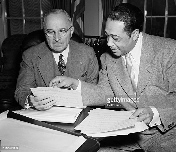 Washington, DC: Duke Ellington and President Truman compared musical notes today at the White House. The famed Negro composer gave the President the...