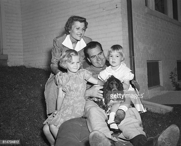 9/29/1952Washington DC Senator Richard Nixon of California takes time out from the rigors of campaigning to relax with his family at their home in...
