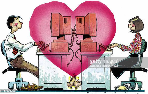92p x 58p Jim Hummel color illustration of a pair of office workers playing footsie while working on backtoback computers with a big pink heart...