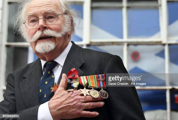 92year old Wing Commander Roger Morewood helps launch the Scottish Poppy Appeal for 2007 at Lady Haig's Poppy Factory Logie Green Road Edinburgh...
