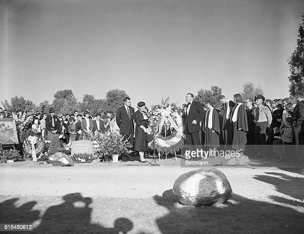 9/30/1955Fairmount Indiana James Dean's aunt Mrs Marcus Winslow acknowledges a wreath from West Germany at Memorial Services for James Dean Reverend...