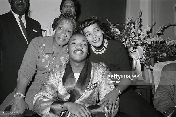9/30/1958New York NY Dr Martin Luther King Jr poses with his mother and his wife at Harlem Hospital here Sept 30th during his first newsconference...