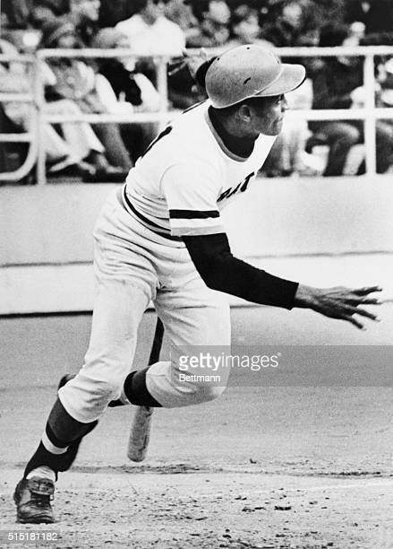 9/30/1972Pittsburgh PA Roberto Clemente's eyes follow the ball as he drops his bat and heads for first base during the fourth inning of the...