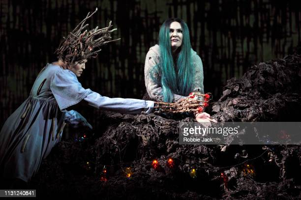 Lucy Schaufer as Modgud and Marta FontanalsSimmons as Hel in The Royal Opera's production of Francesca Simon and Gavin Higgins's The Monstrous Child...