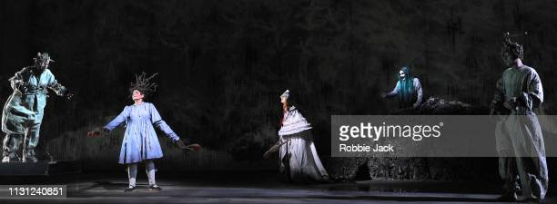 Lucy Schaufer as Modgud and Marta FontanalsSimmons as Hel with artists of the company in The Royal Opera's production of Francesca Simon and Gavin...