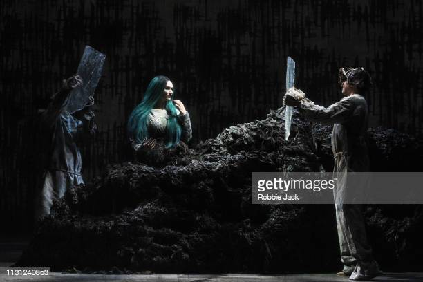 Marta FontanalsSimmons as Hel with artists of the company inThe Royal Opera's production of Francesca Simon and Gavin Higgins's The Monstrous Child...