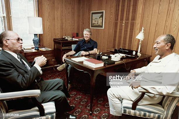 9/3/1978Camp David MD President Carter Prime Minister Menachem Begin of Israel and President Anwar Sadat of Egypt continue their Middle East summit...