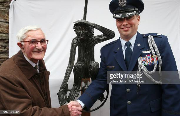 93yearold former Irish Army Engineer Private James Galvin who laid the runway in 1943 with LieutenantColonel Sean Cosden of the US Defence Attache at...