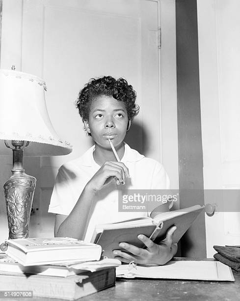 9/4/1957Little Rock AR Elizabeth Eckford spends an evening at home studying her scholl books after she had been turned away from Little Rock's all...