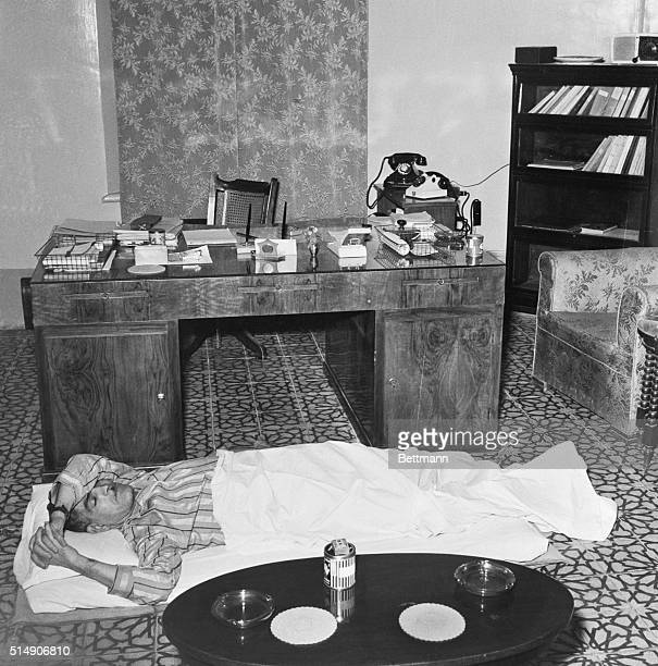 9/4/1958Baghdad Iraq In this exclusive photo taken September 4th Iraqi Prime Minister Brigadier General Abdel Karim Kassem is shown sleeping on a...