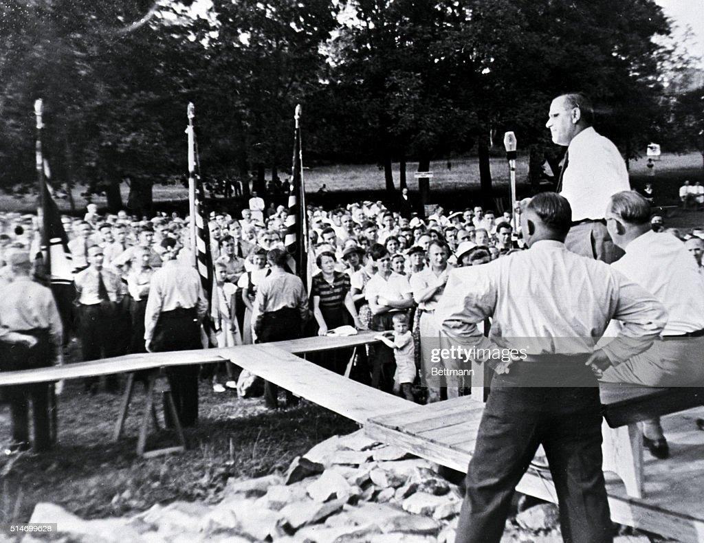 Fritz Kuhn Addresses Nazi Bund Rally : News Photo